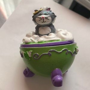 Angel cat mini jewelry holder